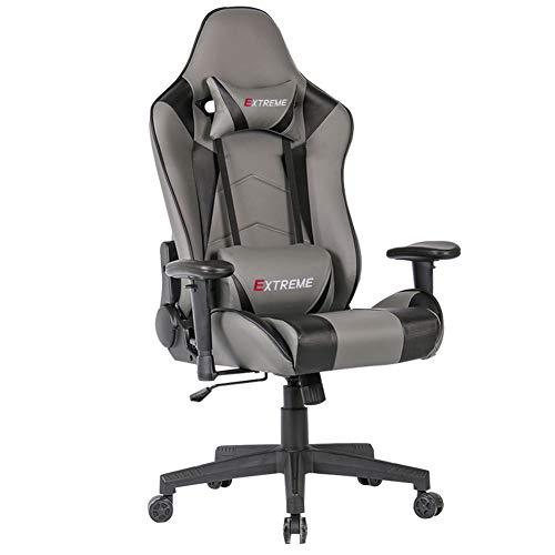 YQAD - Silla para juegos, escritorio de oficina, ordenador de carreras, con respaldo alto, reposabrazos ergonómico, altura ajustable, con reposacabezas y cojín lumbar reclinable