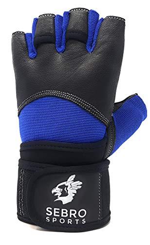 SEBRO SPORTS Trainingshandschuhe für Damen und Herren für Kraftsport und Fitness -aus Leder - Für Schutz und Griffkraft im Training, Schwarz-Blau, L