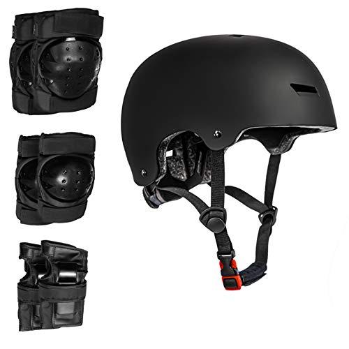 Hi-SHOCK Fahrradhelm + Schoner Set für Longboard, Skateboard, BMX, Inliner, E-Scooter Helm mit Drehrad-Anpassung geeignet für Kinder, Erwachsene [ABS & EPS - schwarz - verstellbar]