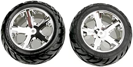 Traxxas 3773 Anaconda Tires Pre-Glued on All Star Chrome Wheels (pair) (electric rear)