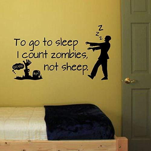 Um schlafen zu gehen, zähle ich Zombies nicht Schafe Vinyl Wandtattoo Aufkleber Dekor