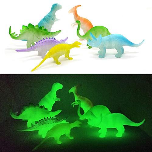 Kicko 5.5 Inch Glow in The Dark Light Dinosaurs - 1 Dozen Assorted Jurassic Toy Figure Collection - Light-Up Playset Kit for Kids Room, 12 Pack