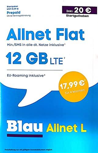 Blau Prepaid SIM Karte - inklusive 20 € Startguthaben- Blau Allnet L - 12GB für Paketpreis 17,99 Ohne Vertragsbindung