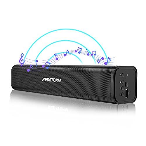 REDSTORM Altavoz Bluetooth, AUX, altavoz TV, altavoz portátil, inalámbrico, resistente al agua, Bluetooth 5.0, batería 8H para viajes, teléfono móvil, TV, etc. Negro