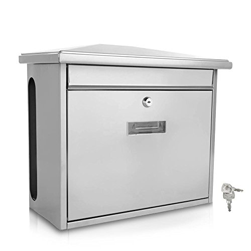 Serenelife Modern Wall Mount Lockable Mailbox Commercial Rural Home Decorative & Office Business Parcel Box Packages Drop Slot Secure Lock SLMAB08 Metallic Gray