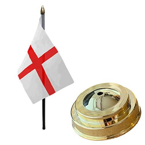 Flagmania Bandera de mesa de escritorio de St George (Inglaterra), 15 x 10 cm, con base plana de plástico dorado