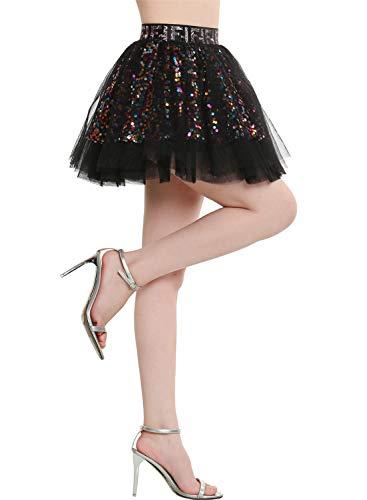 BeryLove Damen Pailletten Rock Gold Petticoat Tüllrock Mini Tanzrock Mädchen Festliche Glitzernd BLP9001 Black XL