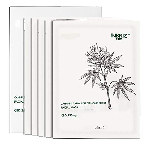 INBRIZ CBD Cannabis Sativa Leaf Skincare Repair Facial Mask 5PC Per Box CBDV Essence Serum Natural Organic Additive Free No THC