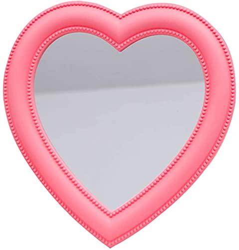 Heart Makeup Mirror Heart Mirror Cosmetic Mirror Wall Desktop Mirror Bedroom Mirror (Pink)