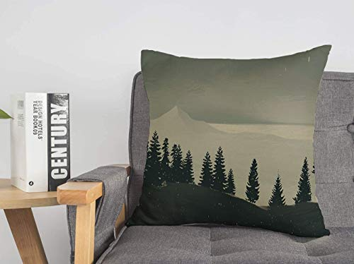 Decorative Linen Throw Pillow Cover Ridge 2D Landscape Camp Canadian Cloudy Wilderness Mountains Digital Nature Remote Sun Travelling Cozy Square Cushion Case for Bed Couch Living Room 20 x 20 Inch