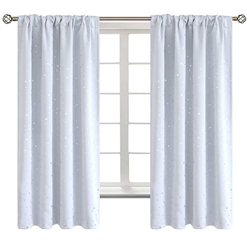 BGment Star Blackout Curtains for Kids Bedroom - Rod Pocket Thermal Insulated Room Darkening Printed Curtains for Living Room, Set of 2 Panels ( 42 x 63 Inch, Greyish White )