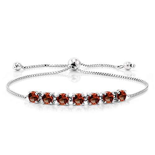 Gem Stone King Sterling Silver Natural Red Garnet Adjustable Bracelet 2.80 cttw Round Cut Gemstone Birthstone
