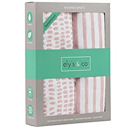 Ely's & Co. Waterproof Sheet, 2 Pack Mauve Pink Splash & Stripes,for Baby Girl
