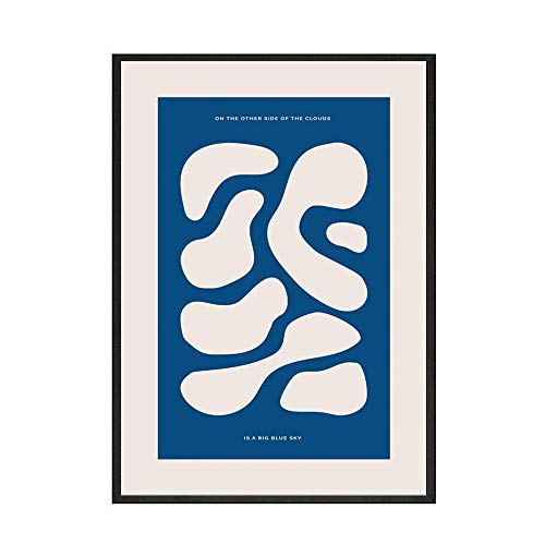 Planta nórdica azul mujer abstracta simple planta pintura cartel imagen pared hogar sin marco lienzo decorativo pintura F 60x80cm