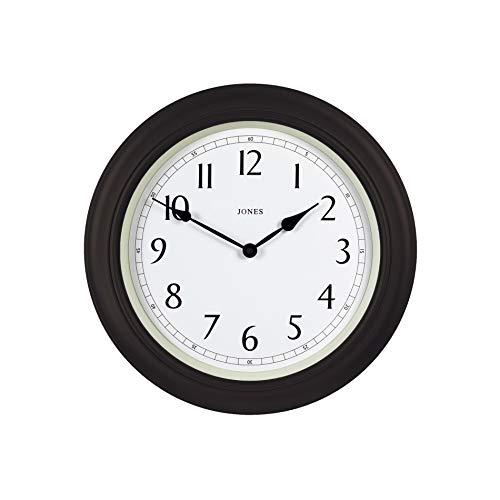 Jones Clocks® - Orologio da parete grande, design classico, con numeri arabi, per casa, cucina, sala da pranzo, ufficio, 40 cm, plastica, Marrone cioccolato, 40 cm