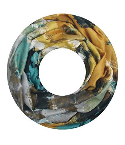 Majea Damen Loop Schal viele Farben Muster Schlauchschal Halstuch in aktuellen Trendfarben (gelb (senfgelb) 21)