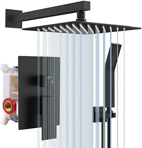 S R SUNRISE Nero Sistema Doccia - Moderna Tecnologia Air Injection - Soffione Doccia a Pioggia Quadrato da 25 * 25cm - Facile Installazione - Ecologico. Ottone massiccio