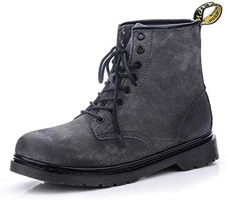 LOVDRAM Boots Men's Martin Boots Short Boots Men'S shoes Fashion Wear Men'S Boots Couple Models Black Casual Wild Leather Boots
