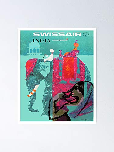 1958 Swissair India Travel Poster - for Office Decor, College Dorm, Teachers, Classroom, Gym Workout and School Halloween, Holiday, Christmas Party ! Great Inspirational Wall Art Poster.