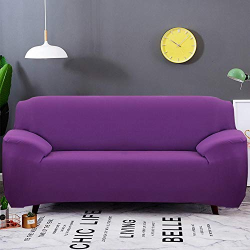KANG stretch-bankovertrek, antislip stretch-bankovertrek, fauteuilovertrek, sofa cover, Living Room Sofa Cover, Armchair Cover, 1/2/3/4 seat-Purple_Two-Seater
