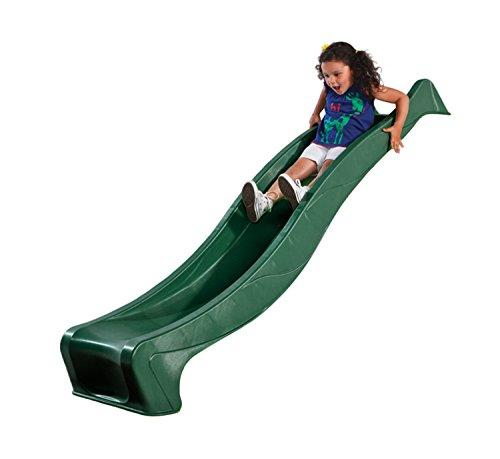 Garden Games Childrens Heavy Duty Green Wavy Slide 2.5 Metres Long for 1.2 Metre High Climbing Frame or Tree House Platform