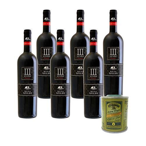 Genießer Paket 6 x 0,75 Ltr. Cuvée III rot, trockener, griechischer Rotwein + 80 ml Rhodion Olivenöl