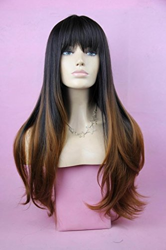 VIMIKID 28 inches Women's Silky Long Straight Wig Heat Resistant Synthetic Wig With Bangs...