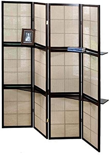 Monarch Specialties 4 Panel Folding Screen With 2 Display Shelves Cappuccino