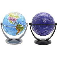 Exerz 10CM Mini Globos 2 Piezas: 1 x Globo Político, 1 x Estrellas Y Globo De Constelaciones - Mapa ingles - Gira En Todas Las Direcciones. Educativo, Decorativo, Pequeño Mundo