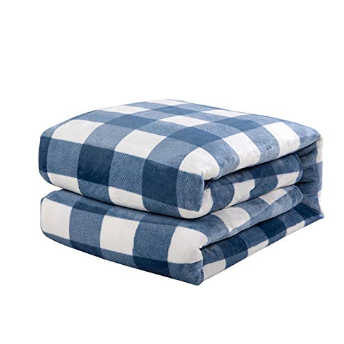 YUNSW Flannel Plaid Printed Blanket Thicken Soft Tv Blanket Sofa Blanket Coral Fleece Lunch Blanket Bed Blanket