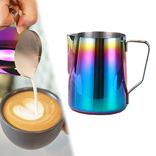 Milk Frothing Pitcher Stainless Steel Milk Frothing Cup Espresso Steaming Pitcher Perfect for Espresso Machines Milk Frothers Cappuccino Maker Latte Art Rainbow Color Coffee Mugs 12 oz