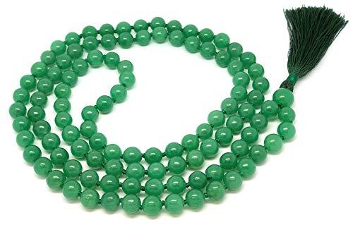 Givereldi pulsera de collar de cuentas de mala de cornalina roja 108 cuentas de 8 mm - con nudos más 1 cuenta de gurú grande - piedra de nacimiento, equilibrio energético, oración, meditació