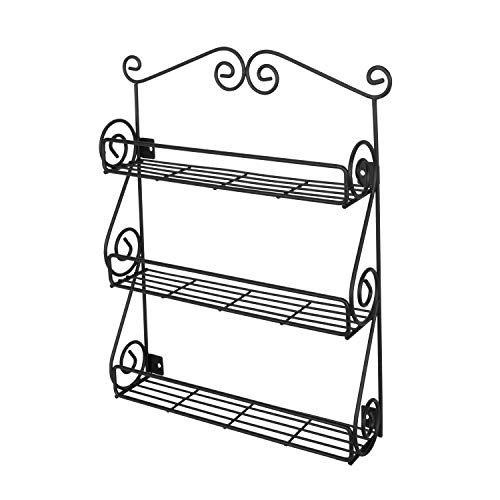 Spectrum Diversified Scroll Wall-Mounted Traditional Spice Rack Organizer for Cabinet & Kitchen, 3-Tier, Beauty & Nail Polish