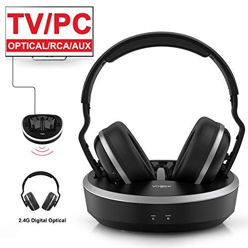 Wireless TV Headphone, VOGEK Hi-Fi Stereo 2.4G RF Headset with Transmitter Charging Dock, Optical Fiber TV Earphone 100ft Wireless Range Rechargeable for TV/PC/Phone (Not Bluetooth)
