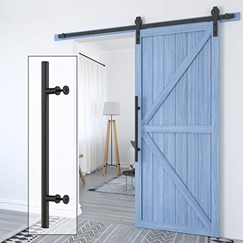 HomLux Heavy Duty 22' Extra Long Pull and Flush Barn Door Handle Set, Ergonomic Modern Design, Classic Round Handle of American Style, Frosted Black Surface Treatment-Round