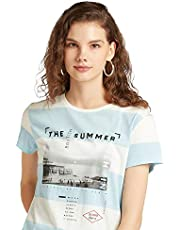 Lee Cooper Women's 3017738 LCU20NAUTEE3 Knitted Cotton T-Shirt, Blue