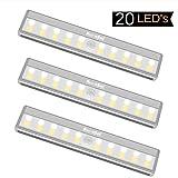 RuneSol Lampes Détecteur de Mouvement rechargeables/LED lumineuses/Pack de 3 barres...
