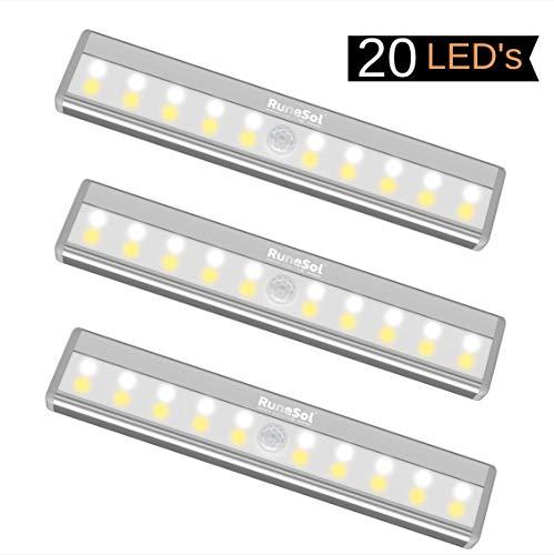 RuneSol® Luce LED notturna wireless a lampada ricaricabile usb/ 3 x 20 LED strisce di luce notturna/Sensore di luce per auto super brillante/Luce a lampada senza fili a strisce, luce per il tuo