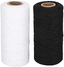 GLOGLOW 2Pcs Weaving Thread Loom Warp Thread 8/4 Warp Yarn Perfect for Weaving: Carpet, Tapestry, Rug, Blanket or Pattern (Black+White)