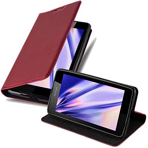 Cadorabo Custodia Libro per Nokia Lumia 540 in Rosso Mela - con Vani di Carte, Funzione Stand e Chiusura Magnetica - Portafoglio Cover Case Wallet Book Etui Protezione