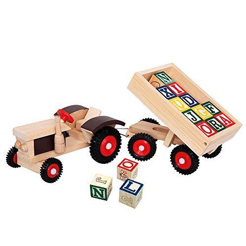 Bino & Mertens 82077 - Traktor mit ABC-Anhänger, 17tlg., zum Spielen und mit den 12 Würfeln mit Motiven wie Zahlen, Buchstaben und Motive in diverse Richtungen lernen. Größe ca. 40x11x8,5 cm.