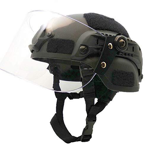 BBYaki Soft Airsoft Tactical Mich 2000 Militär Paintball Force Helm Mit Transparenter Rostmaske Maske CS Spiel Fast Helmet Sliding Goggles und Side Rails NVG,Black