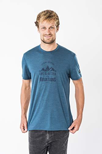super.natural Herren Kurzarm T-Shirt, Mit Merinowolle, M GRAPHIC TEE, Größe: M, Farbe: Blau meliert/Dunkelblau