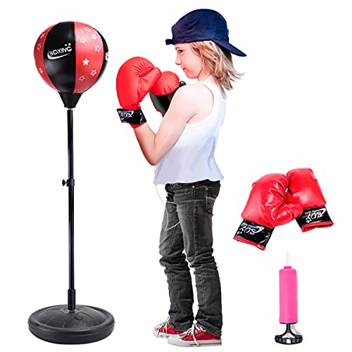JPFS Punching Bag for Kids Incl Boxing Gloves, Adjustable Kids Punching Bag with Stand for 3-8 Years Old Boys & Girls