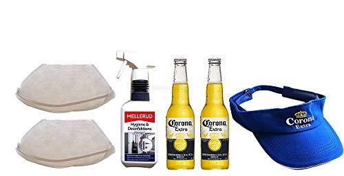 Corona Set - Corona Extra Mexikanisches Bier inkl. Pfand - 2x 355ml (4,5% Vol) -[Enthält Sulfite] - Inkl. Pfand MEHRWEG + Corona Cap/Kappe + 2x Mundschutz + Desinfektionsmittel