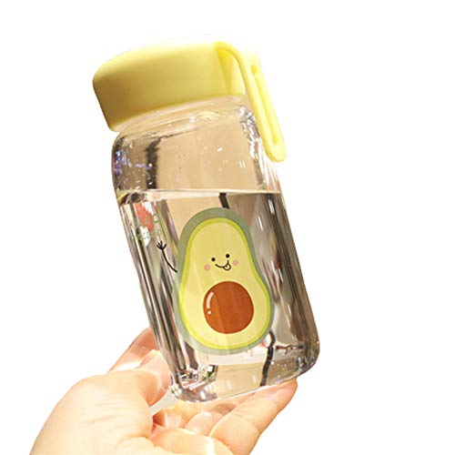 Botella Agua Botella De Agua Cristal Frasco de Agua Botella de Agua Clara Lindo Botella de Agua Deporte Taza de Agua Botella Grande de Agua yellow1,500ml