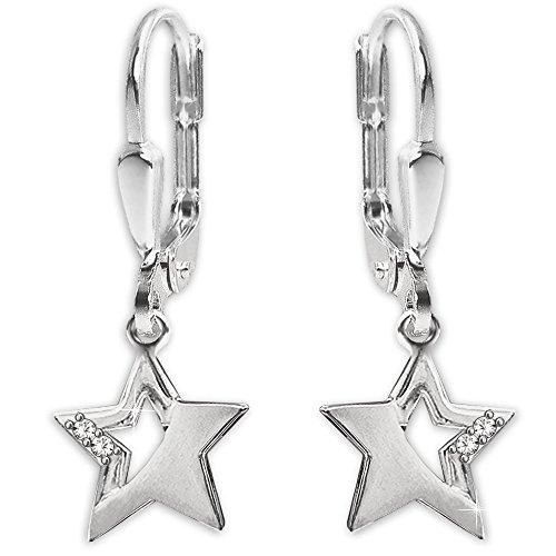 Clever Schmuck Silberne Damen Ohrhänger 24 mm mit Stern 9 mm matt und glänzend mit 2 Zirkonias teils offen STERLING SILBER 925