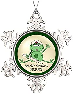 Christmas Snowflake Ornament World's Greatest Nurse Frog Ornament
