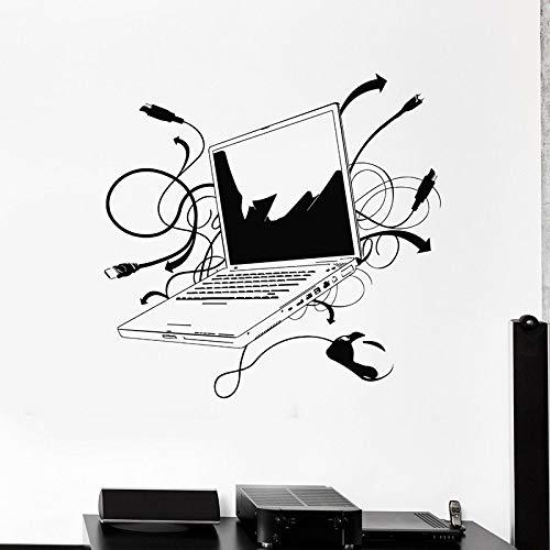 Ordenador portátil pared calcomanía computadora en línea internet juego jugador estudio oficina decoración interior puerta y ventana vinilo adhesivo papel tapiz arte