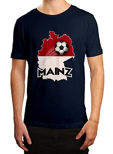Mainz #2 Premium T-Shirt | Fussball | Fan-Trikot | #jeden-verdammten-Samstag | Herren | Shirt, Farbe:Dunkelblau (French Navy L190);Größe:S